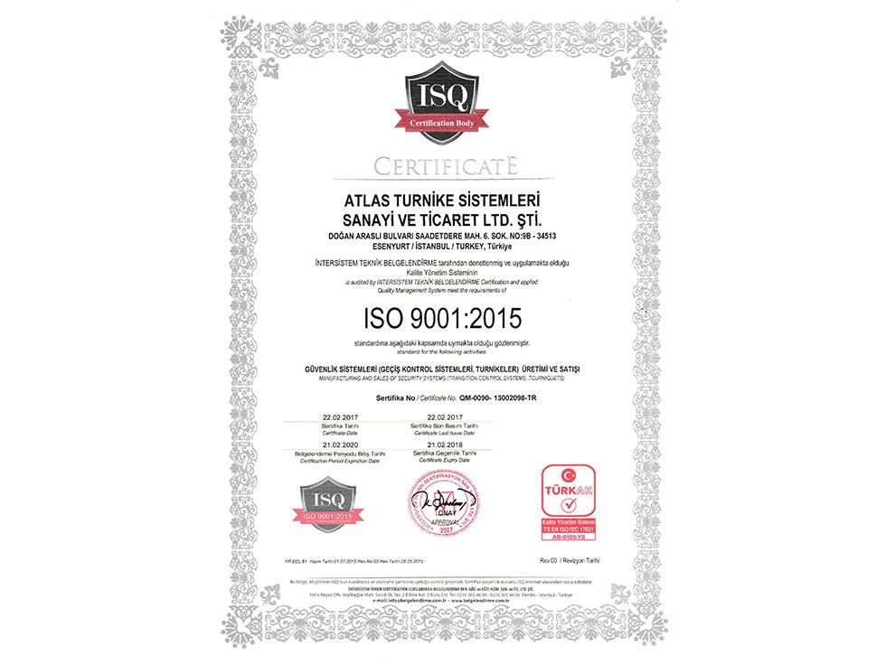 atlas turnike iso9001 2015 sertifikasi